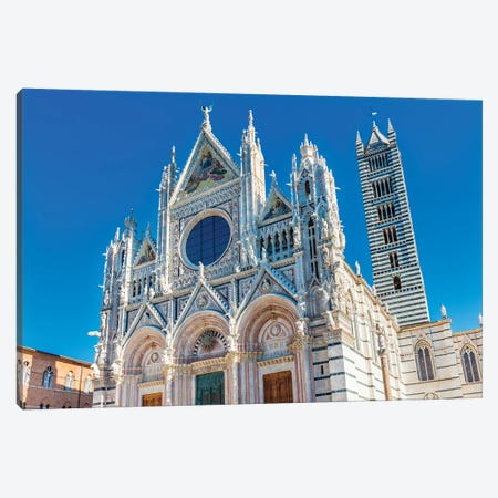 Facade Of Towers Mosaics Cathedral, Siena, Italy. Cathedral Completed From 1215 To 1263. Canvas Print #WPE27} by William Perry Canvas Wall Art