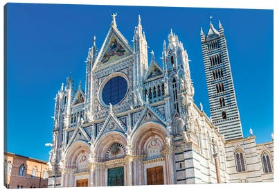 Facade Of Towers Mosaics Cathedral, Siena, Italy. Cathedral Completed From 1215 To 1263. Canvas Art Print
