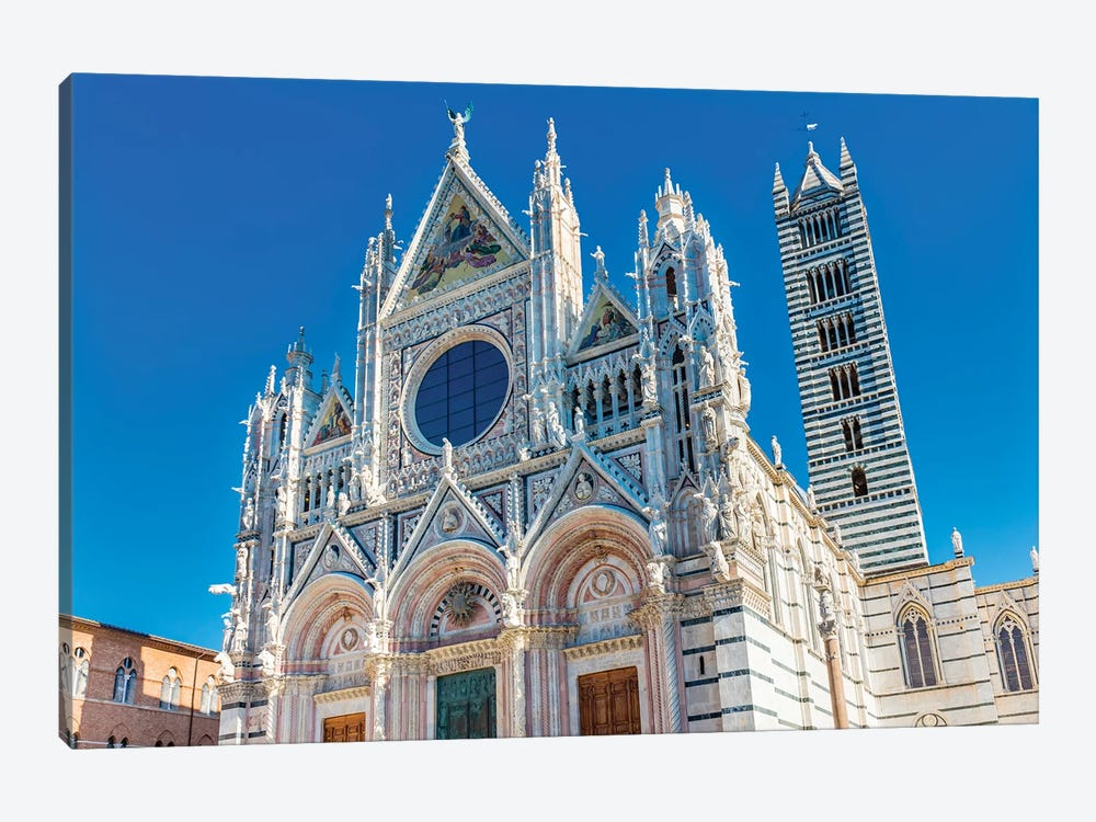 Facade Of Towers Mosaics Cathedral, Siena, Italy. Cathedral Completed From 1215 To 1263. by William Perry 1-piece Art Print
