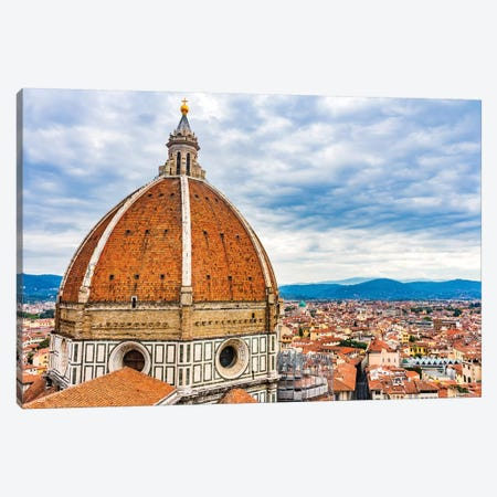 Large Dome Golden Cross, Duomo Cathedral, Florence, Italy. Finished 1400'S. Formal Name Cathedral Di Santa Maria Del Fiore. Canvas Print #WPE32} by William Perry Canvas Art