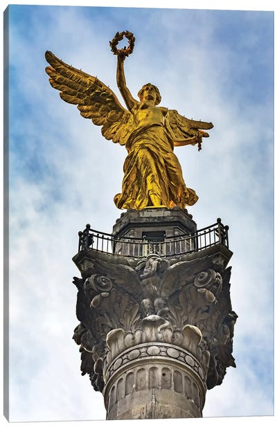The Angel Of Independence, Mexico City, Mexico. Built In 1910 Celebrating It'S Independence Of 1821. Canvas Art Print