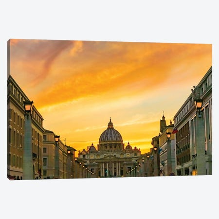 Orange sunset and illuminated streetlights. Saint Peter's Basilica, Vatican, Rome, Italy. Canvas Print #WPE38} by William Perry Canvas Artwork