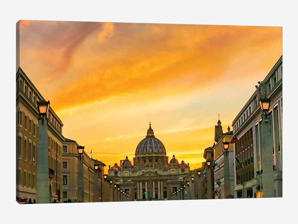 Orange sunset and illuminated streetlights. Saint Peter's Basilica, Vatican, Rome, Italy. by William Perry 1-piece Canvas Print