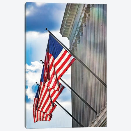 American flags at Herbert Hoover Building, Washington DC, USA. Canvas Print #WPE39} by William Perry Canvas Art