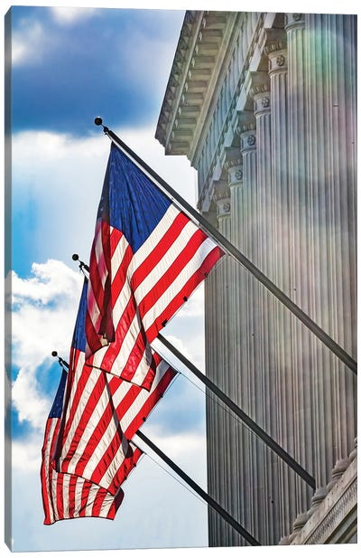 American flags at Herbert Hoover Building, Washington DC, USA. Canvas Art Print