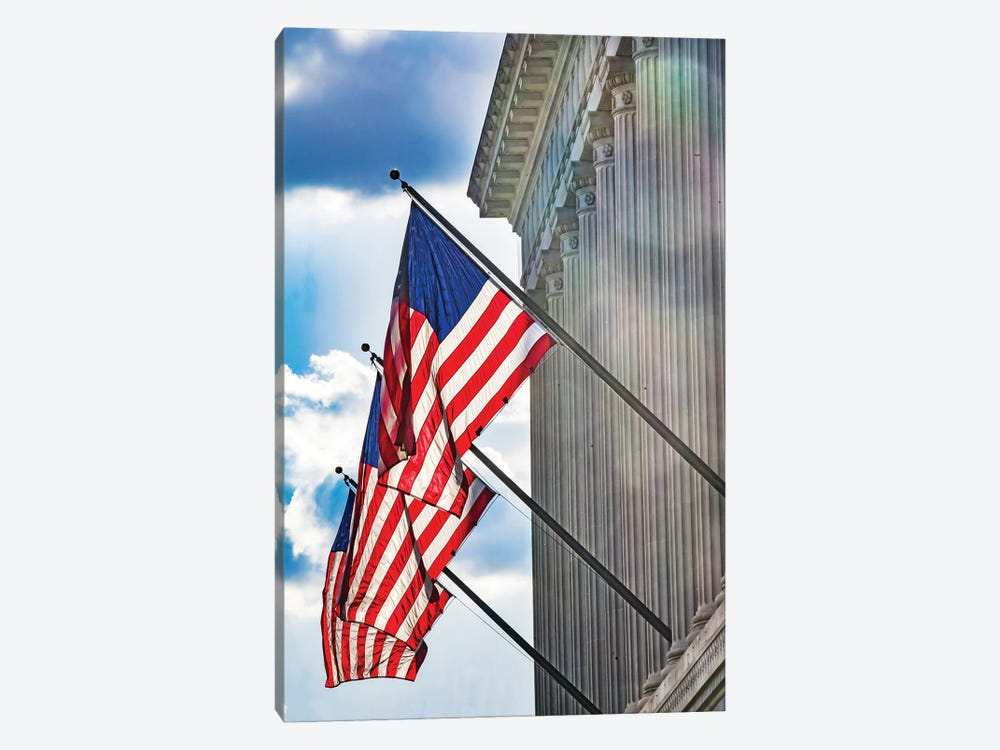 American flags at Herbert Hoover Building, Washington DC, USA. by William Perry 1-piece Canvas Artwork