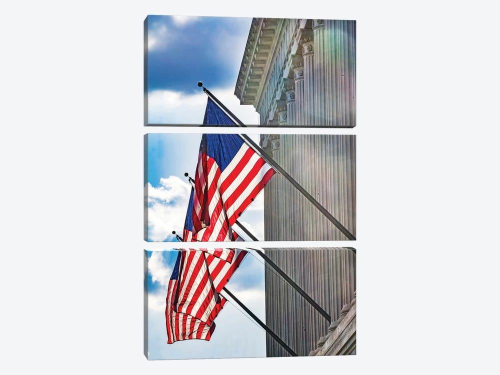 American flags at Herbert Hoover Building, Washington DC, USA. by William Perry 3-piece Canvas Wall Art