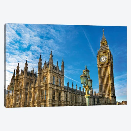Big Ben, Parliament, and Lamp Post, Westminster, London, England. Canvas Print #WPE5} by William Perry Art Print