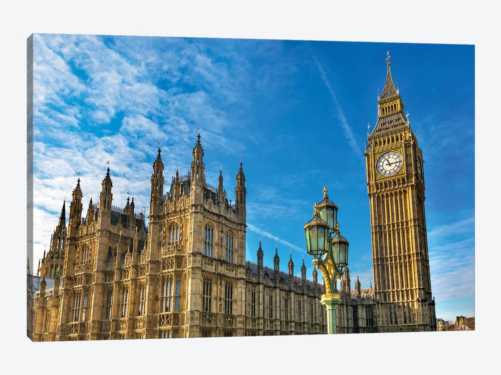 Big Ben, Parliament, and Lamp Post, Westminster, London, England. by William Perry 1-piece Canvas Art