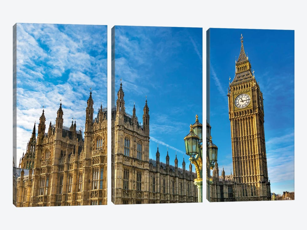 Big Ben, Parliament, and Lamp Post, Westminster, London, England. by William Perry 3-piece Canvas Wall Art