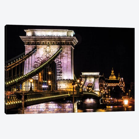 Chain Bridge, St. Stephens. Danube River Reflection, Budapest, Hungary Canvas Print #WPE6} by William Perry Canvas Art Print