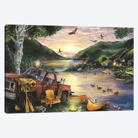 Lakefront Camping I Canvas Print #WRG22} by Ed Wargo Canvas Artwork