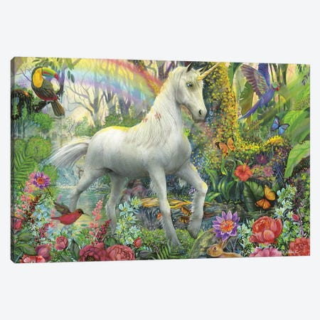 Rainbow Unicorn Canvas Print #WRG24} by Ed Wargo Art Print