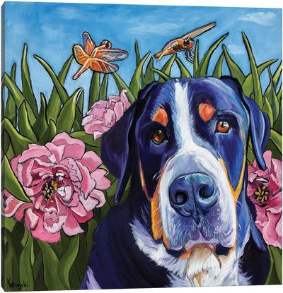 Dog and Dragonflies Canvas Art Print