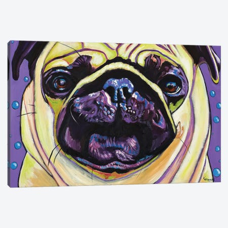 Purple Pug Canvas Print #WRO7} by Kathryn Wronski Art Print