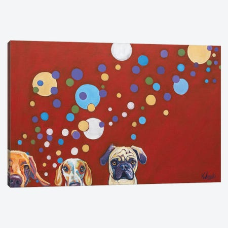 When Dogs Drink Canvas Print #WRO9} by Kathryn Wronski Canvas Wall Art