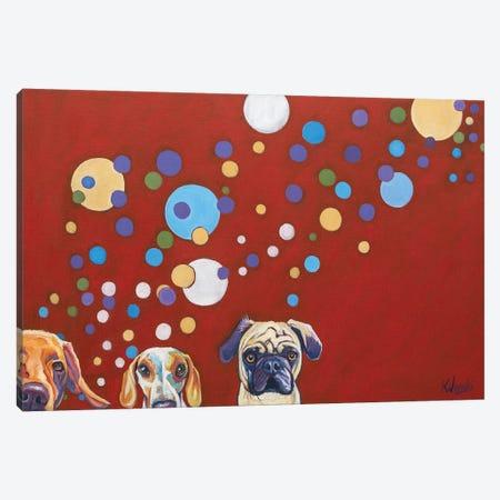 When Dogs Drink Canvas Print #WRO9} by Kathryn Wronski Canvas Wall Art