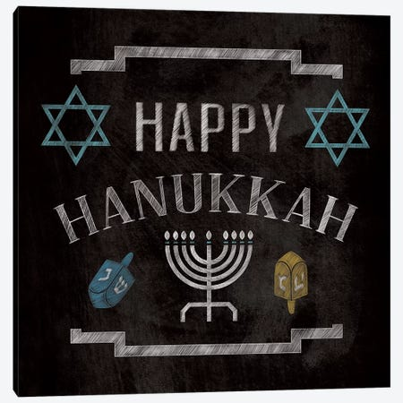 Happy Hanukkah Canvas Print #WSH1} by 5by5collective Canvas Artwork
