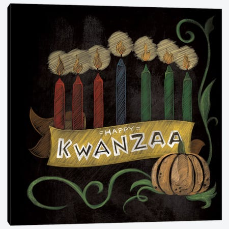 Happy Kwanzaa Canvas Print #WSH3} by 5by5collective Canvas Artwork