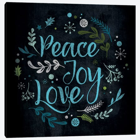 Peace Joy Love in Blue Canvas Print #WSH5} by 5by5collective Canvas Art Print