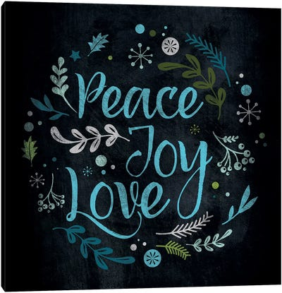 Peace Joy Love in Blue Canvas Art Print