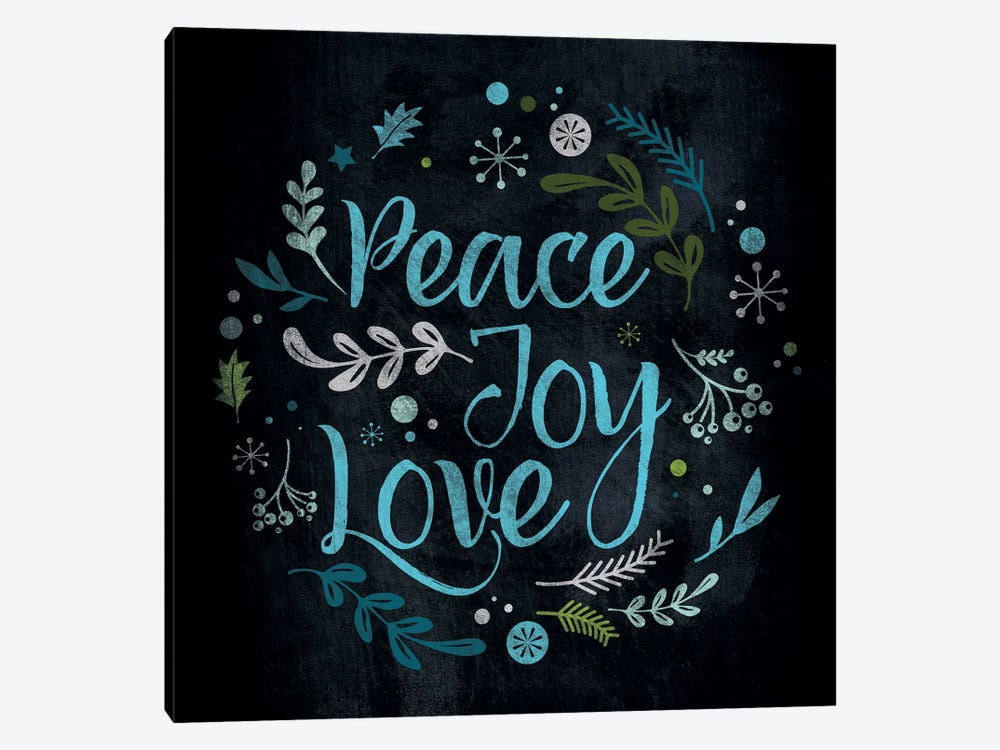 Peace Joy Love in Blue by 5by5collective 1-piece Canvas Print