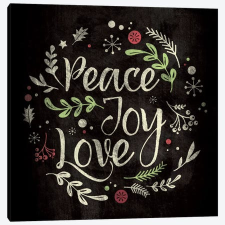 Peace Joy Love Canvas Print #WSH6} by 5by5collective Art Print