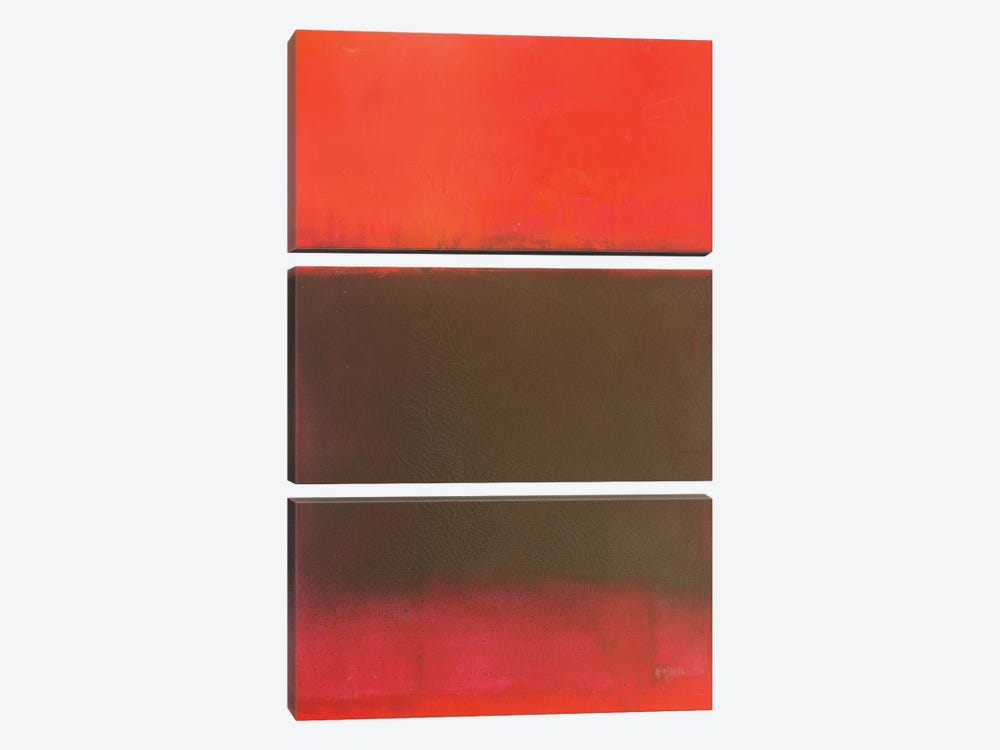 Composition In Reds And Black by Wayne Sleeth 3-piece Canvas Art
