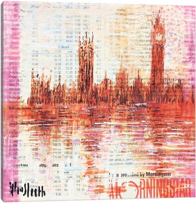 Westminster, The Colour Of Monet (Ten Pounds) Canvas Art Print