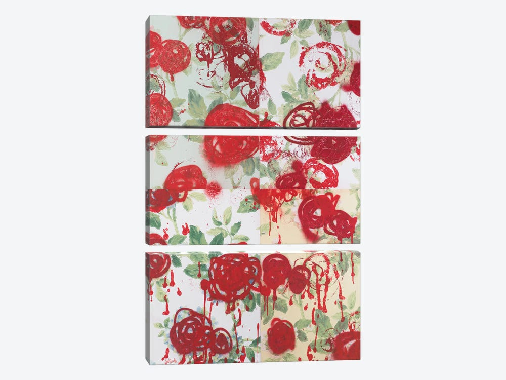 Broken Flowers Series: My English Rose Garden 3-piece Canvas Wall Art