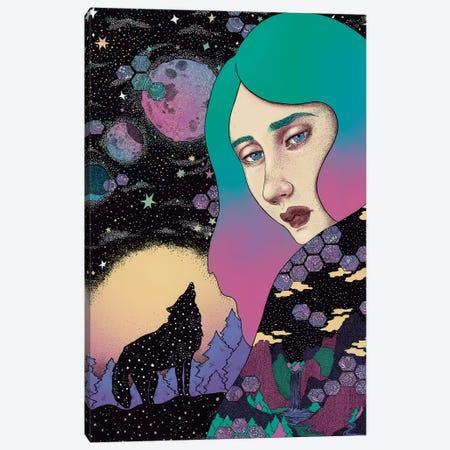 Midnight Wolf Canvas Print #WSM19} by Wassermoth Canvas Art