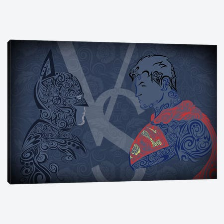 The Showdown, Dark Night Vs Man of Blue Steel Canvas Print #WSS15} by 5by5collective Canvas Print