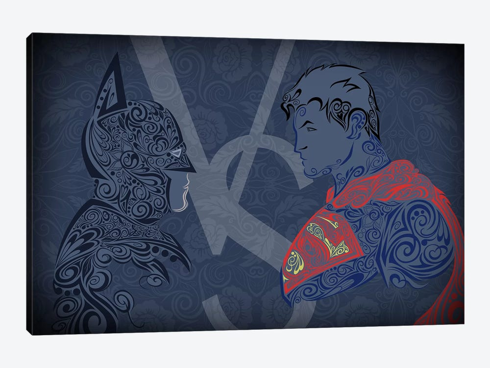 The Showdown, Dark Night Vs Man of Blue Steel by 5by5collective 1-piece Canvas Print
