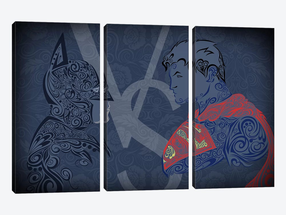 The Showdown, Dark Night Vs Man of Blue Steel by 5by5collective 3-piece Canvas Print
