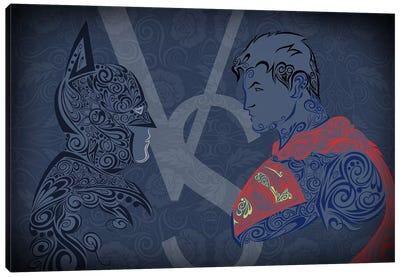 The Showdown, Dark Night Vs Man of Blue Steel Canvas Art Print