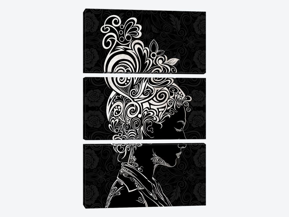 Spring Blossoms in Black & White by 5by5collective 3-piece Canvas Artwork