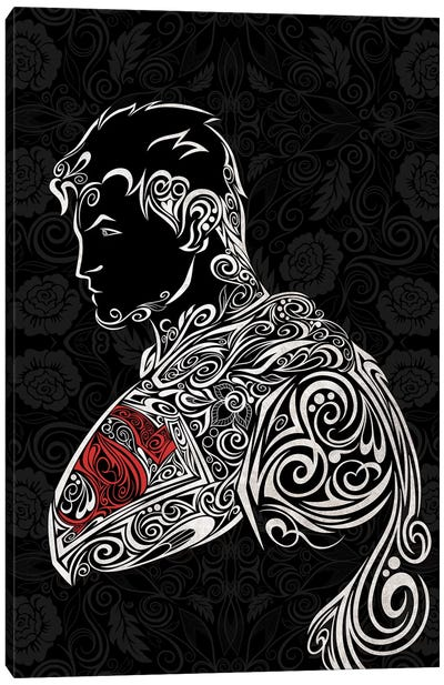 The Man of Carbon Steel in Black Canvas Art Print