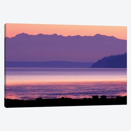 Pastel Sunset Over Puget Sound, Washington, USA 3-Piece Canvas #WSU2} by William Sutton Canvas Art