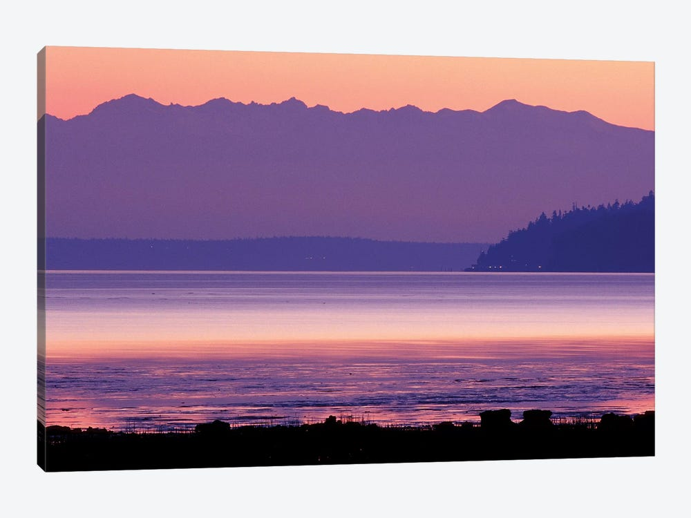 Pastel Sunset Over Puget Sound, Washington, USA by William Sutton 1-piece Canvas Print