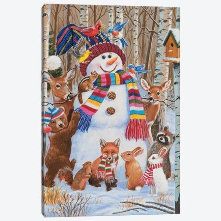 Forest Animals Decorating Snowman Canvas Print #WVD10} by William Vanderdasson Canvas Print