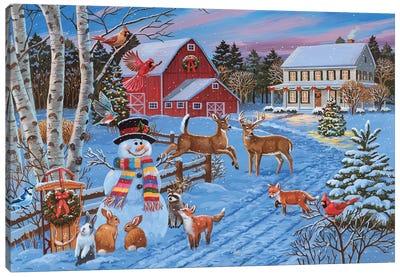 Festive Evening On The Farm Canvas Art Print