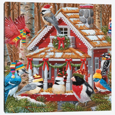 Christmas Gathering At The Birdhouse Canvas Print #WVD14} by William Vanderdasson Canvas Wall Art