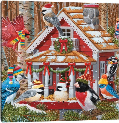 Christmas Gathering At The Birdhouse Canvas Art Print