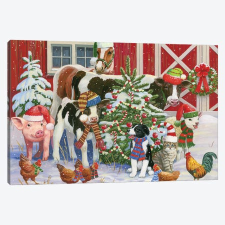 A Very Merry Barnyard Canvas Print #WVD2} by William Vanderdasson Canvas Print