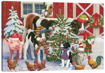A Very Merry Barnyard Canvas Art Print