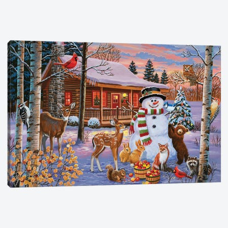Holiday Cabin With Snowman Canvas Print #WVD6} by William Vanderdasson Canvas Wall Art