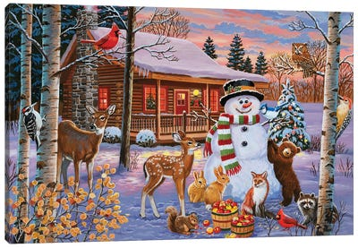 Holiday Cabin With Snowman Canvas Art Print