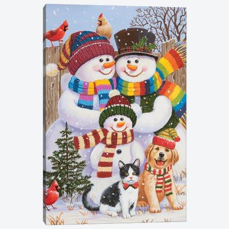 Backyard Snow Family Canvas Print #WVD8} by William Vanderdasson Art Print