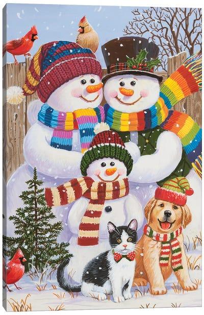 Backyard Snow Family Canvas Art Print
