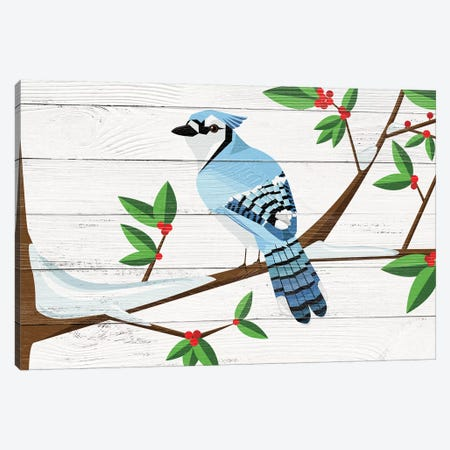 Berry Blue Jay Canvas Print #WWO2} by 5by5collective Canvas Print